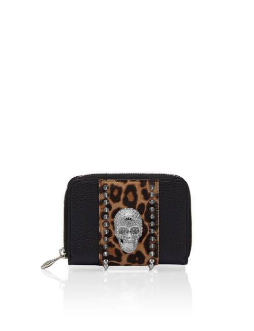 Philipp Plein Small zip around skull crystal Leopard - Zwart