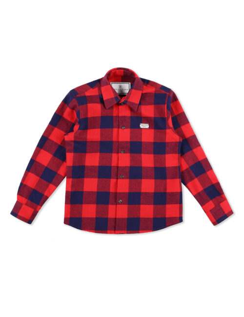 Philipp Plein Shirt Hexagon Tartan rood Teenager