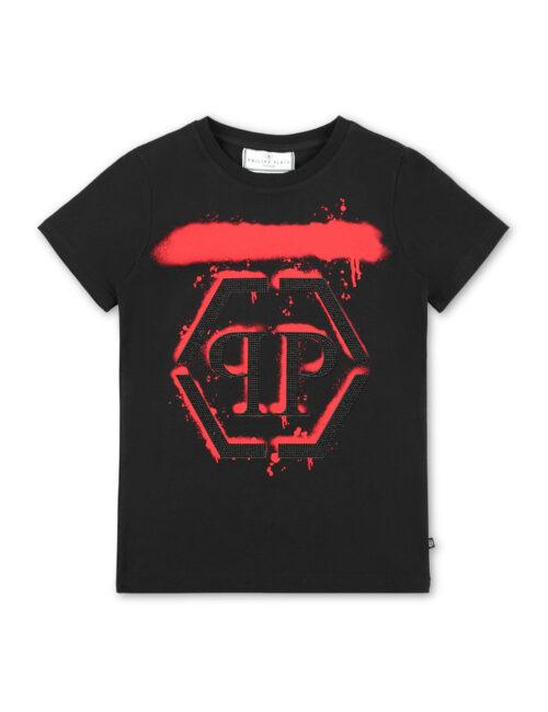 Philipp Plein T-shirt RN SS Hexagon Drip Zwart