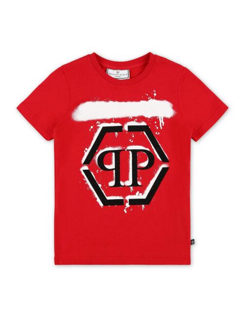 Philipp Plein T-shirt RN SS Hexagon Drip Rood Teenager
