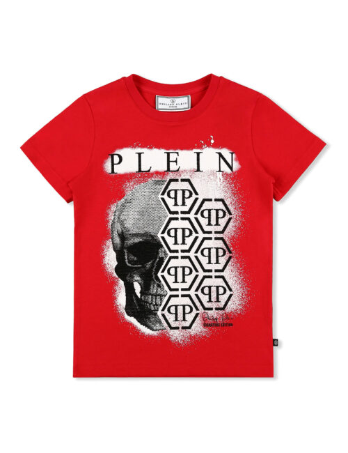 Philipp Plein T-shirt RN SS Skull Hexagon PP Rood Teenager