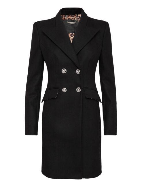 Philipp Plein Long Coat Regina Elegant Black