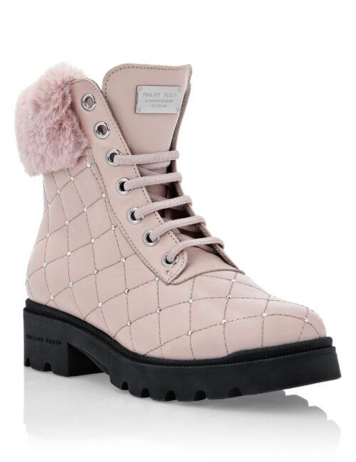 Philipp Plein Boots Low Flat Studs Pink / Silver T