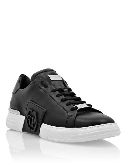 Philipp Plein Phantom Kick$ Lo-Top Leather Hexagon Zwart