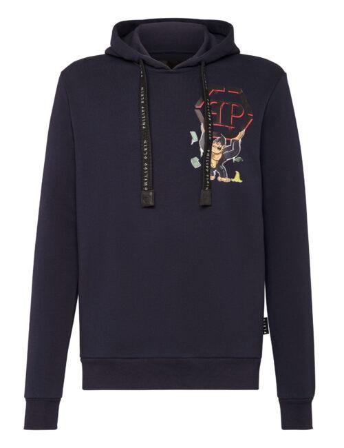 Philipp Plein Hoodie Sweatshirt King Plein Middel Blauw