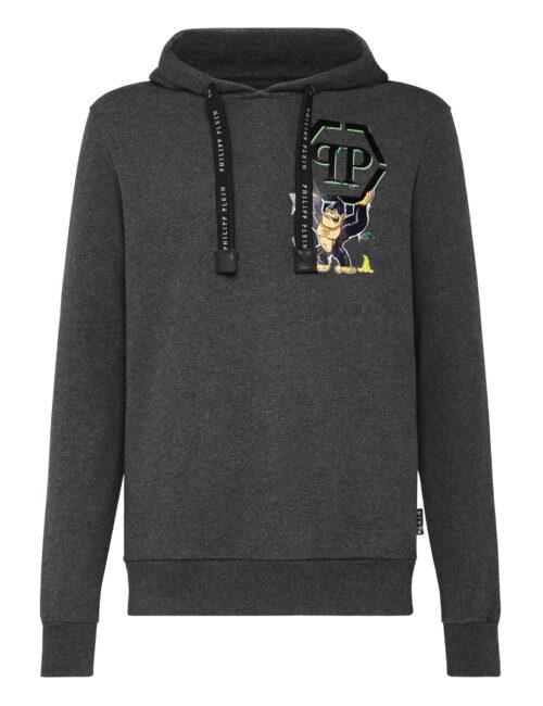 Philipp Plein Hoodie Sweatshirt King Plein Donker Grijs