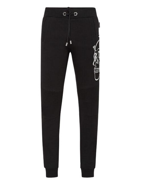 Philipp Plein Jogging Trousers Outline Skull Zwart/Wit