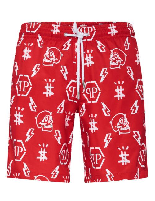 Philipp Plein Beachwear Short Trousers Monogram Rood
