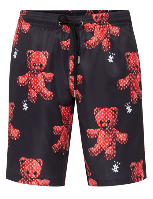 Philipp Plein Beachwear Long Trousers Teddy Bear Zwart