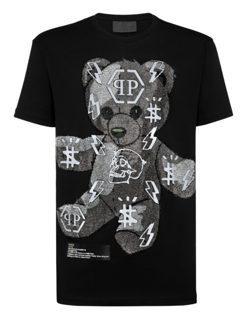 Philipp Plein T-Shirt Round Neck SS Teddy Bear Zwart