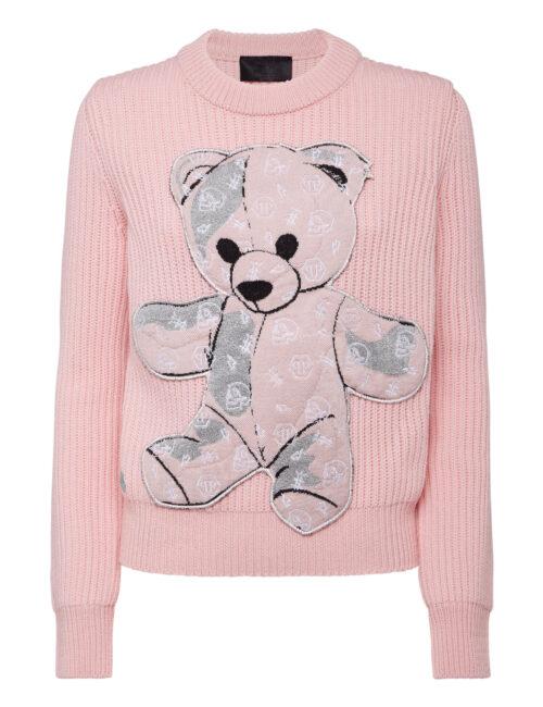 Philipp Plein Pullover Round Neck LS Teddy Bear Roze