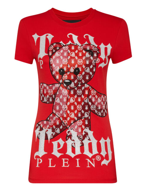 Philipp Plein T-Shirt Round Neck SS Monogram Teddy Bear Rood