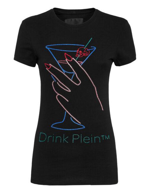 Philipp Plein T-Shirt Round Neck SS Neon Drink Zwart