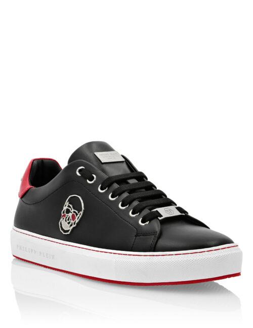 Philipp Plein Lo-Top Sneakers Skull Zwart/Rood