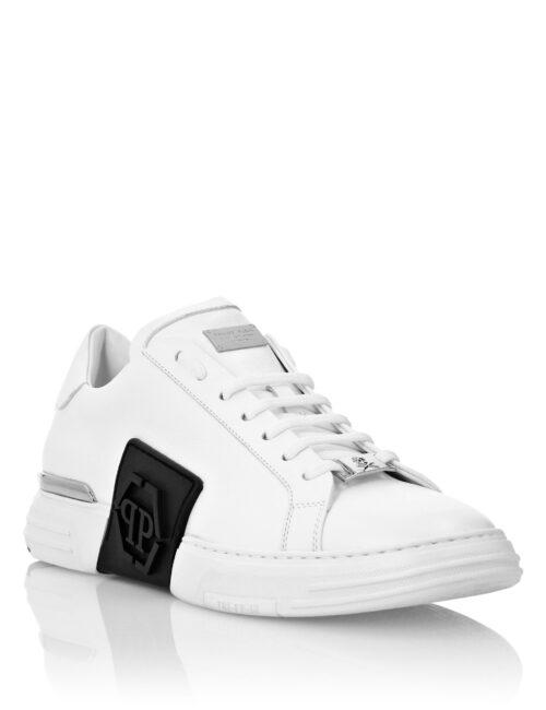 Philipp Plein Phantom Kick$ Lo-Top Leather Hexagon Wit