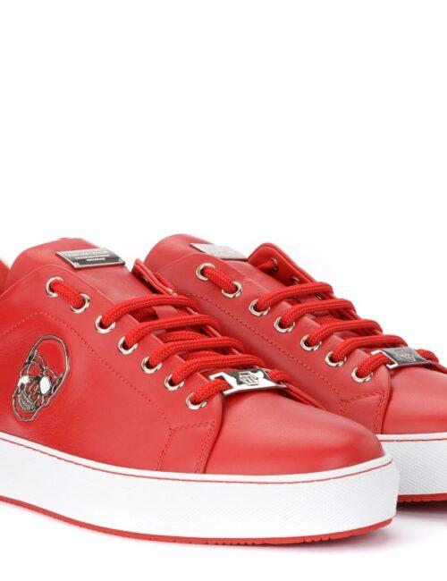 Philipp Plein Lo-Top Sneakers Skull Rood/Wit