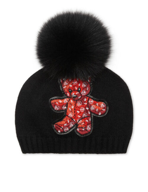 Philipp Plein Bonnet Teddy Bear Zwart