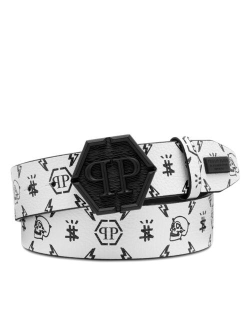 Philipp Plein Leather Belt Monogram Wit/Zwart #209