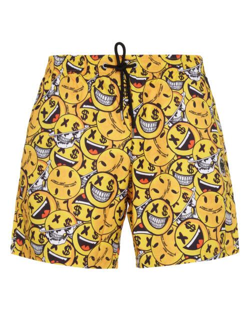 Philipp Plein Beachwear All Over Smile Geel/Zwart