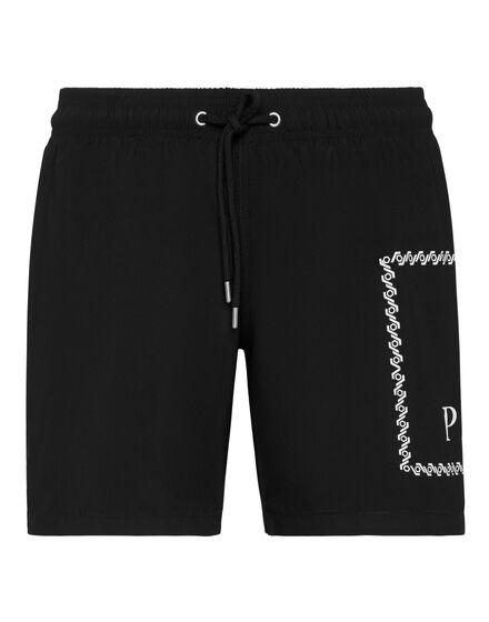 Philipp Plein Beachwear Short Trousers Zwart