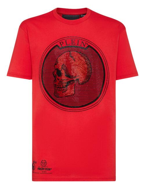 Philipp Plein T-Shirt Outline Skull Crystal Rood