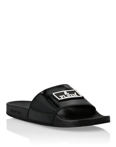 Philipp Plein Flat Gummy Sandals Iconic Zwart