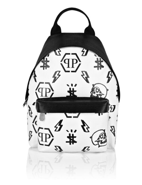 Philipp Plein Leather Backpack Embossed  Monogram Wit/Zwart