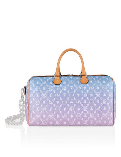 Philipp Plein Leather Medium Travel Bag Monogram Multicolor