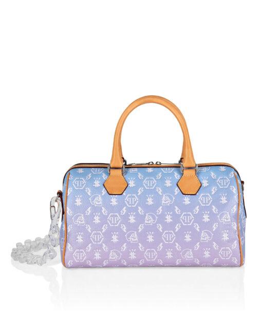 Philipp Plein Leather Small Travel Bag Monogram Multicolor
