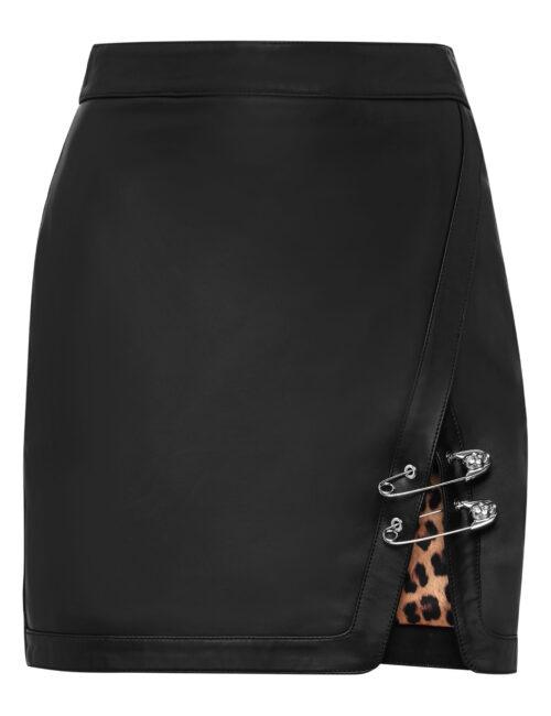 Philipp Plein Leather Skirt Short Pins Zwart