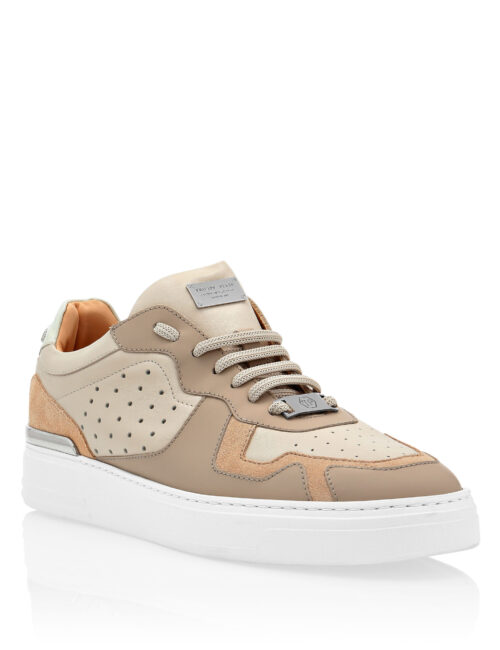 Philipp Plein Lo-Top Sneakers Mix Leathers G.O.A.T Beige