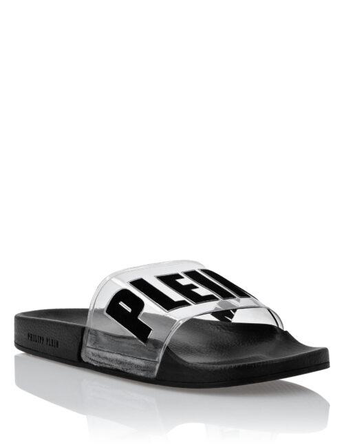 Philipp Plein Flat Gummy Sandals PP TM Zwart