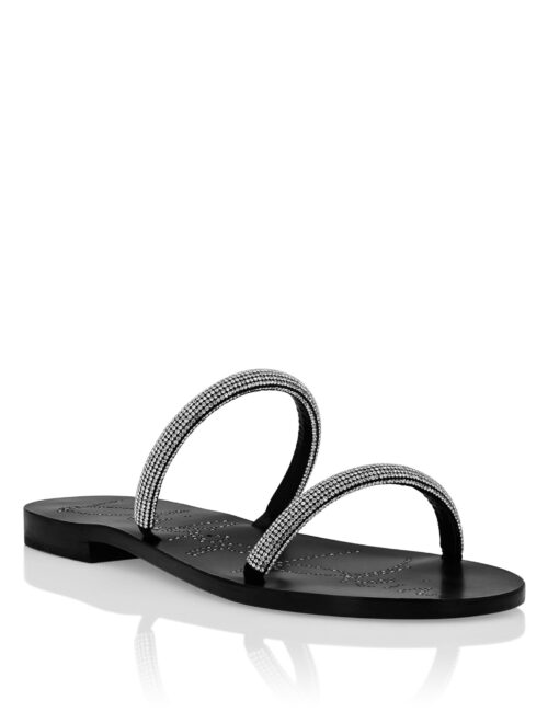 Philipp Plein Suede Sandals Flat Crystal Zwart
