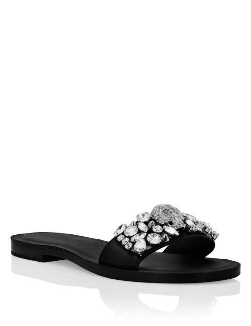 Philipp Plein Leather Sandals Flat Crystal Zwart