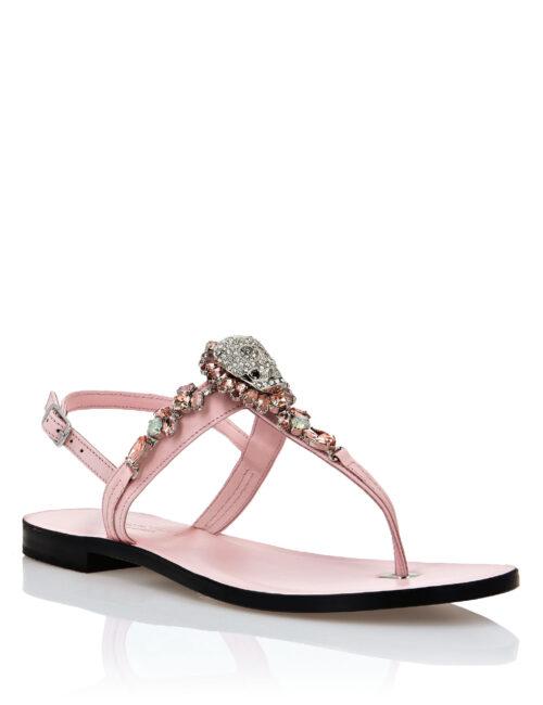 Philipp Plein Leather Sandals Flat Crystal Roze