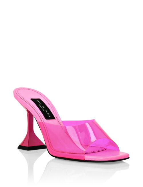 Philipp Plein Sandals In PVC Mid Heels Iconic Plein Fuxia