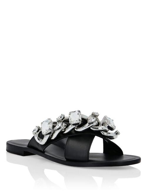 Philipp Plein Leather Sandals Flat Chains Zwart