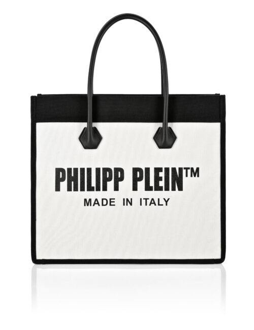 Philipp Plein Canvas Handle Bag Beige