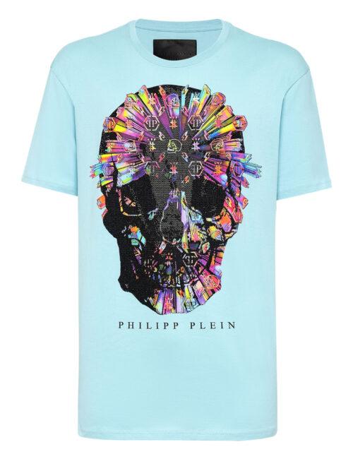 Philipp Plein T-Shirt Colorful Skull Licht Blauw