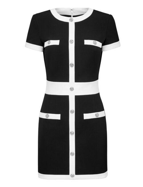 Philipp Plein Cady Black And White Short Dress Zwart