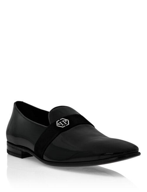 Philipp Plein Leather Loafers Hexagon Zwart
