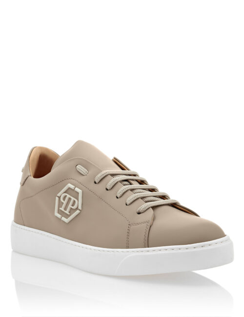 Philipp Plein Rubber Leather Sneakers The Plein Beige