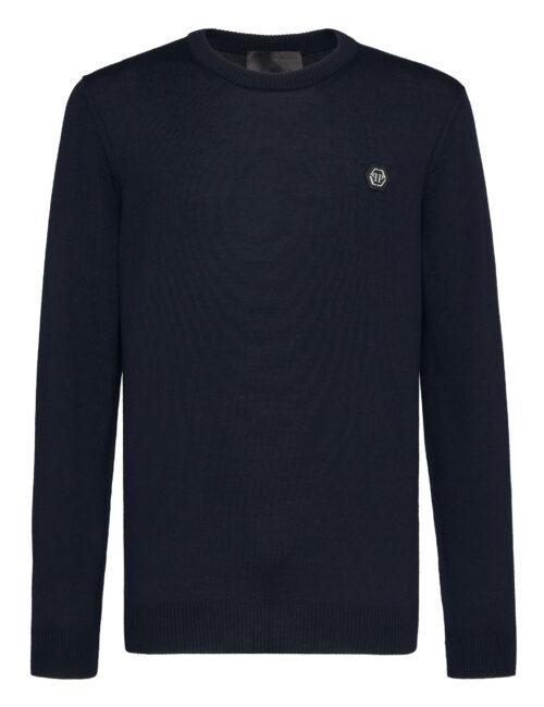 Philipp Plein Wool Pullover Round-Neck Istitutional Donker Blauw