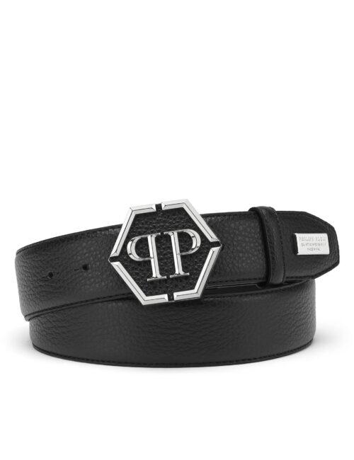 Philipp Plein Leather Belt Iconic Plein Zwart #250