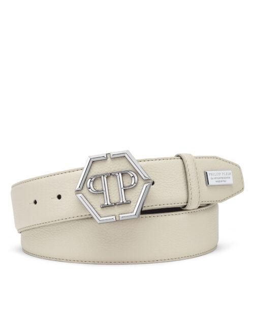 Philipp Plein Leather Belt Iconic Plein Beige #251