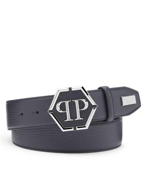 Philipp Plein Leather Belt Iconic Plein Donker Blauw #252