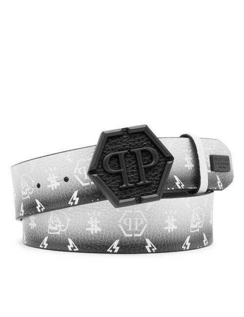 Philipp Plein Leather Belt Degradè Monogram Wit/Zwart #253