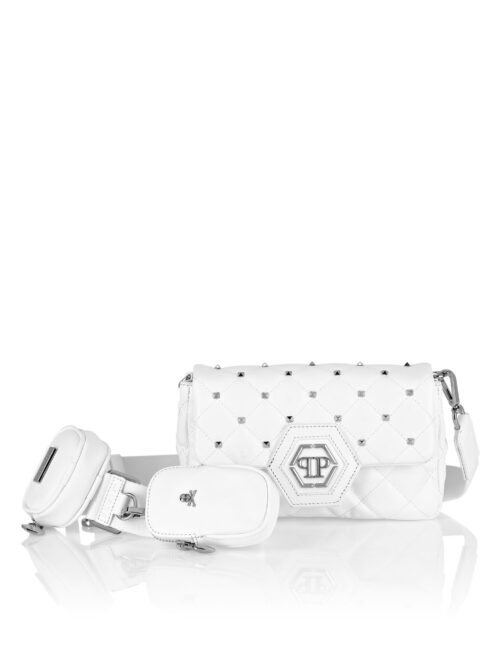 Philipp Plein Calf Leather Shoulder Bag Studs Wit