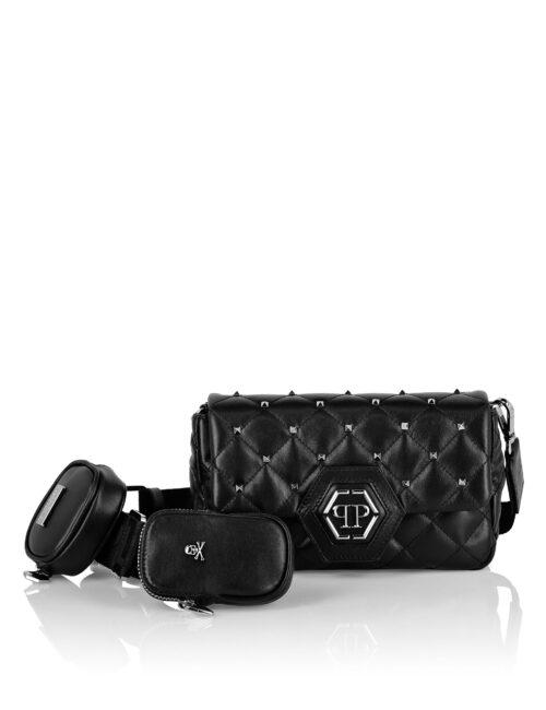 Philipp Plein Calf Leather Shoulder Bag Studs Zwart