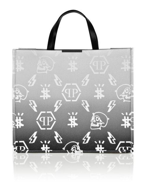 Philipp Plein Leather Handle Bag Degradè Monogram Wit/Zwart
